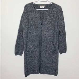 Loft one button grey melange sweater coat size M